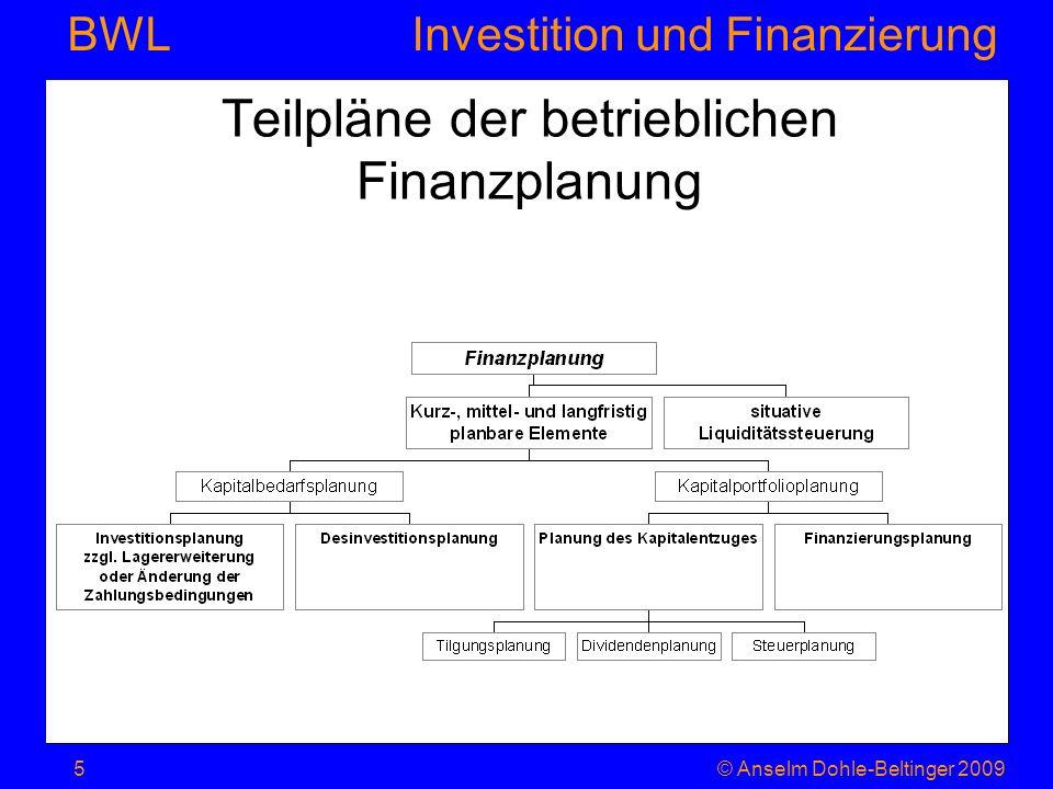 Investition und Finanzierung BWL 8.2.2.2 Dynamische Verfahren Sie bewerten die Zahlungsströme mit einem Kalkulationszinssatz, der berücksichtigt, dass ein früherer Mittelrückfluss (EÜ) länger verzinslich angelegt werden kann (Zins enthält auch Inflationsprämie).