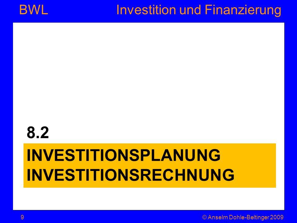 Investition und Finanzierung BWL 8.2.1 Investitionsplanung © Anselm Dohle-Beltinger 200910 Forschung Organisation Werbung Ausbildung Forderungs- und Beteiligungsrechte Verkauf von Vermögenswerten