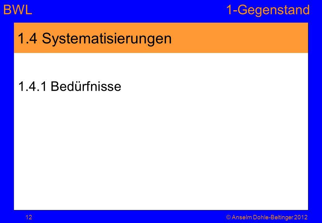 BWL1-Gegenstand 1.4 Systematisierungen 1.4.1 Bedürfnisse 12© Anselm Dohle-Beltinger 2012