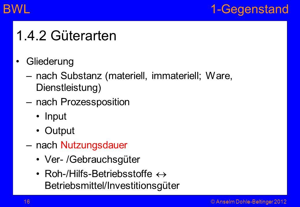 BWL1-Gegenstand 1.4.2 Güterarten Gliederung –nach Substanz (materiell, immateriell; Ware, Dienstleistung) –nach Prozessposition Input Output –nach Nut