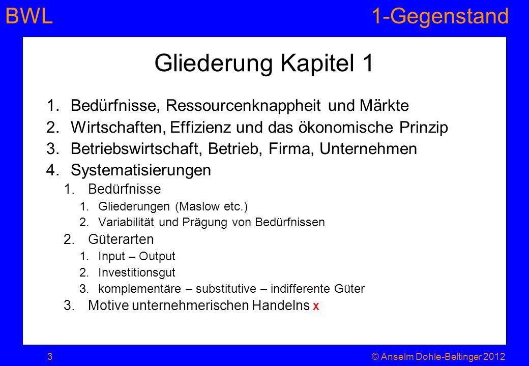 BWL1-Gegenstand Gliederung Kapitel 1 1.Bedürfnisse, Ressourcenknappheit und Märkte 2.Wirtschaften, Effizienz und das ökonomische Prinzip 3.Betriebswir