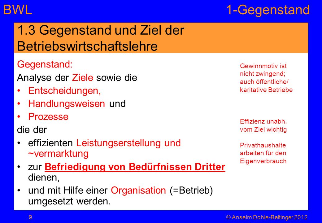 BWL1-Gegenstand 1.3 Gegenstand und Ziel der Betriebswirtschaftslehre Gegenstand: Analyse der Ziele sowie die Entscheidungen, Handlungsweisen und Proze