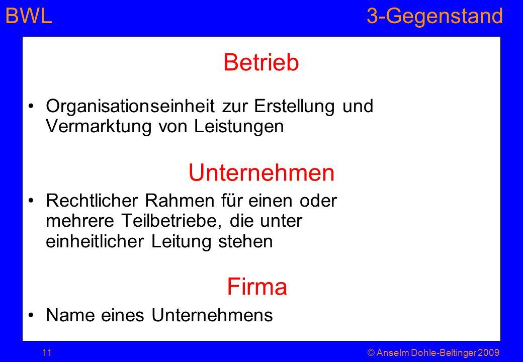 BWL3-Gegenstand Betrieb Organisationseinheit zur Erstellung und Vermarktung von Leistungen Rechtlicher Rahmen für einen oder mehrere Teilbetriebe, die