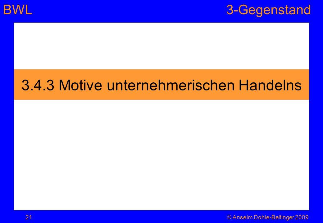 BWL3-Gegenstand 3.4.3 Motive unternehmerischen Handelns 21© Anselm Dohle-Beltinger 2009