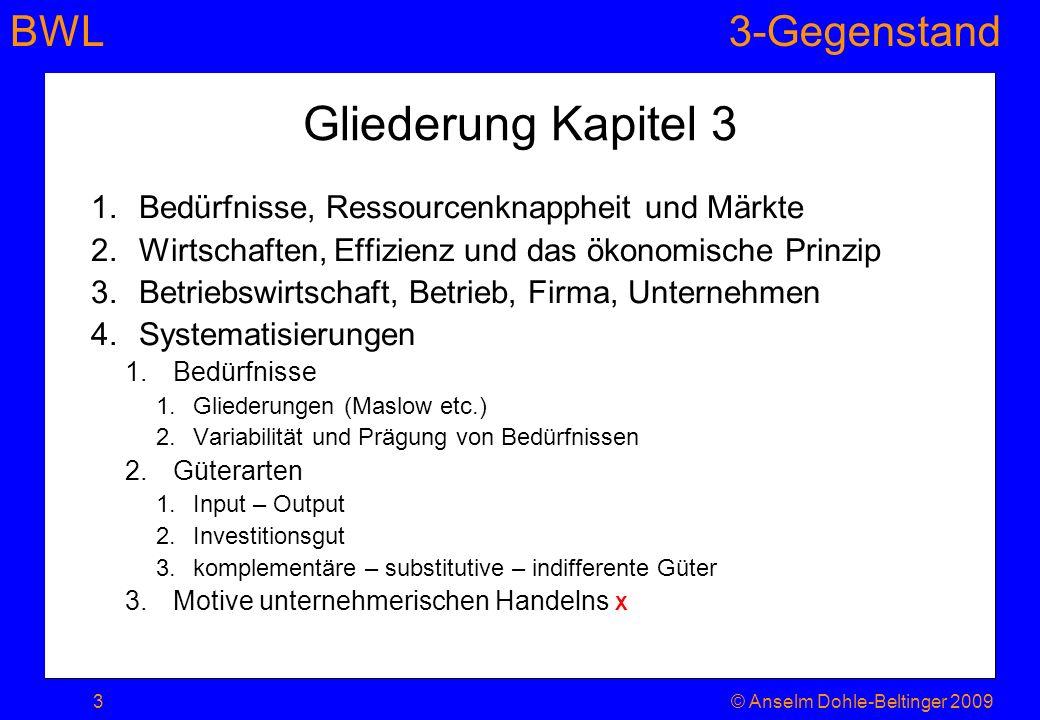 BWL3-Gegenstand Gliederung Kapitel 3 1.Bedürfnisse, Ressourcenknappheit und Märkte 2.Wirtschaften, Effizienz und das ökonomische Prinzip 3.Betriebswir