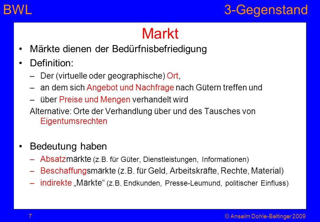 BWL3-Gegenstand Markt Märkte dienen der Bedürfnisbefriedigung Definition: –Der (virtuelle oder geographische) Ort, –an dem sich Angebot und Nachfrage