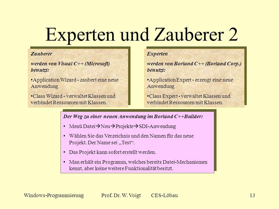 Windows-ProgrammierungProf. Dr. W. Voigt CES-Löbau12 Experten und Zauberer...... erleichtern die Arbeit des Windows-Programmierers ungemein. Beherrsch