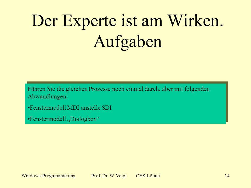 Windows-ProgrammierungProf. Dr. W. Voigt CES-Löbau13 Experten und Zauberer 2 Der Weg zu einer neuen Anwendung im Borland C++Builder: Menü Datei Neu Pr
