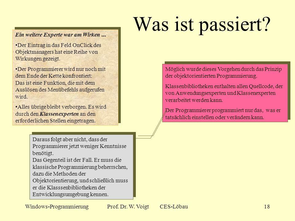 Windows-ProgrammierungProf. Dr. W. Voigt CES-Löbau17 Der Befehl zeigt Wirkung! Unser Ziel: Bei Auswahl des Menübefehls soll eine Messagebox erscheinen