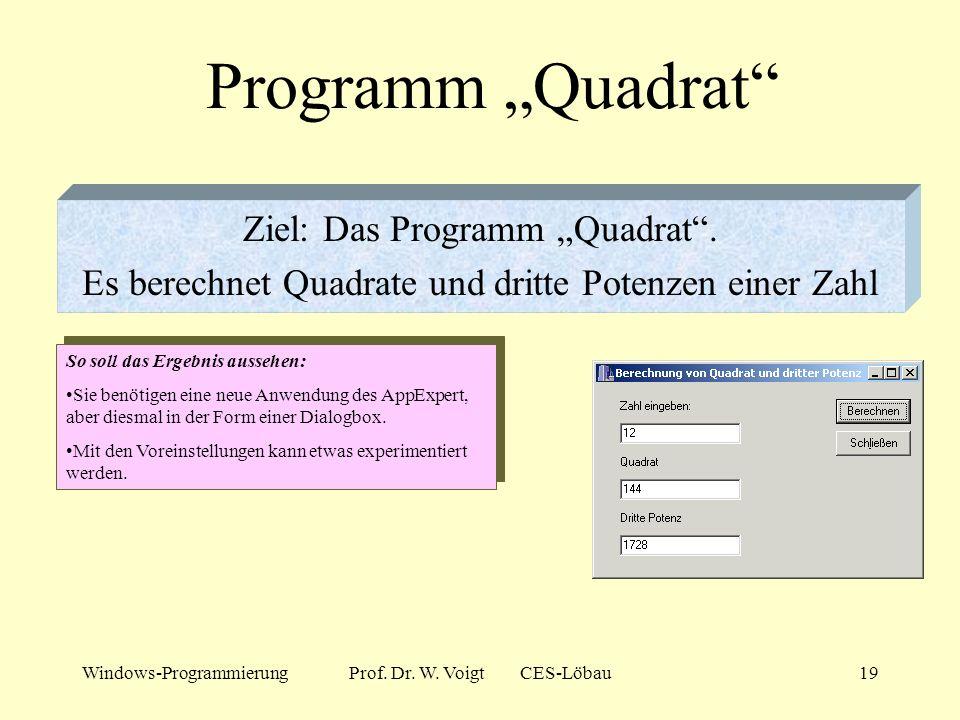 Windows-ProgrammierungProf. Dr. W. Voigt CES-Löbau18 Was ist passiert? Ein weitere Experte war am Wirken... Der Eintrag in das Feld OnClick des Objekt