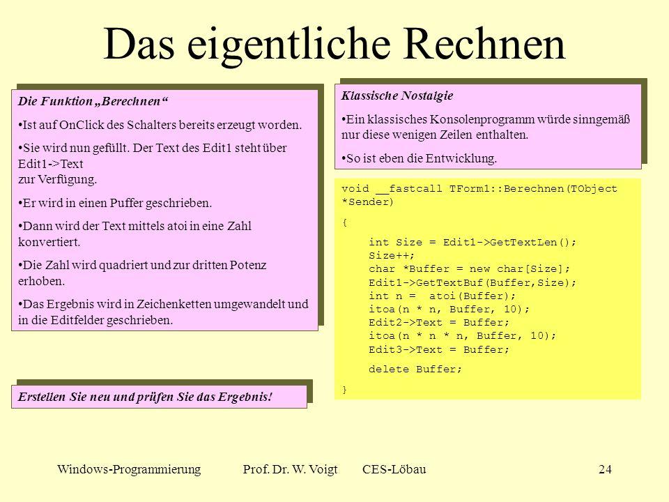 Windows-ProgrammierungProf. Dr. W. Voigt CES-Löbau23 Schreiben von Zahlen Eingabe der Zahl Die Zahl wird in einem sogenannten Editfeld eingeben. Wir h