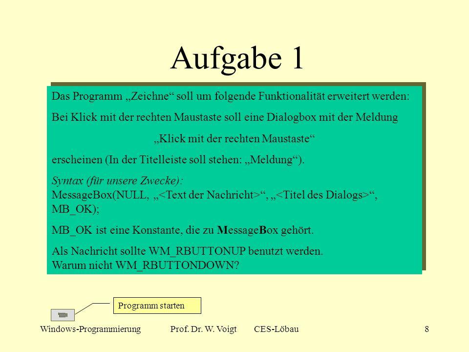 Windows-ProgrammierungProf. Dr. W. Voigt CES-Löbau7 Beispiel Zeichne Funktionalität: Bei Programmstart wird ein leeres Fenster mit weißem Hintergrund