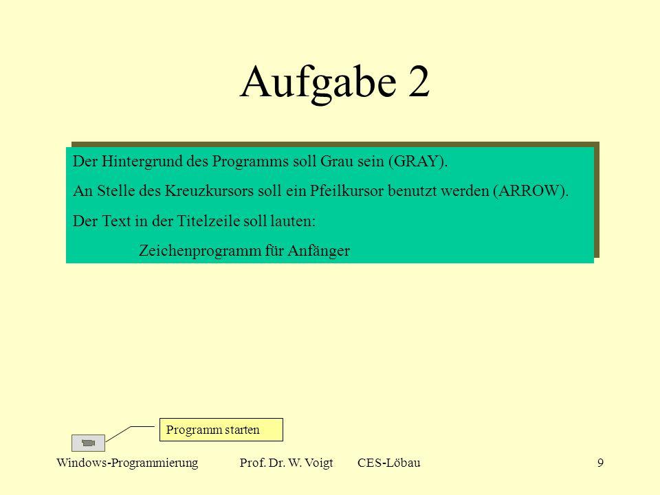 Windows-ProgrammierungProf. Dr. W. Voigt CES-Löbau8 Aufgabe 1 Programm starten Das Programm Zeichne soll um folgende Funktionalität erweitert werden: