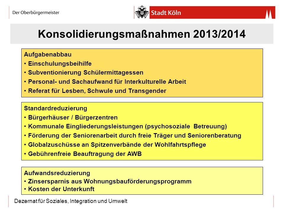 Dezernat für Soziales, Integration und Umwelt Konsolidierungsmaßnahmen 2013/2014 Aufgabenabbau Einschulungsbeihilfe Subventionierung Schülermittagesse