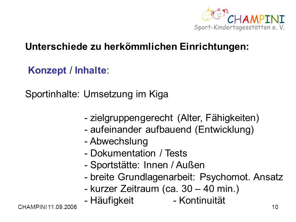 CHAMPINI 11.09.200610 Unterschiede zu herkömmlichen Einrichtungen: Konzept / Inhalte: Sportinhalte: Umsetzung im Kiga - zielgruppengerecht (Alter, Fäh