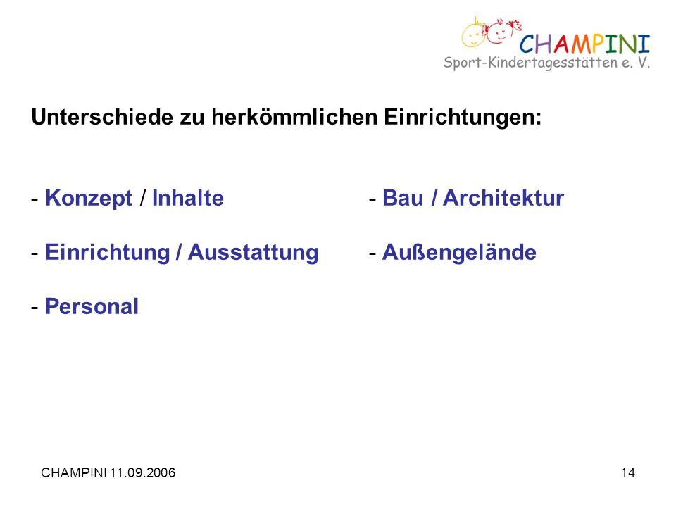 CHAMPINI 11.09.200614 Unterschiede zu herkömmlichen Einrichtungen: - Konzept / Inhalte- Bau / Architektur - Einrichtung / Ausstattung- Außengelände -