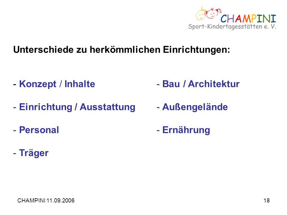 CHAMPINI 11.09.200618 Unterschiede zu herkömmlichen Einrichtungen: - Konzept / Inhalte- Bau / Architektur - Einrichtung / Ausstattung- Außengelände -