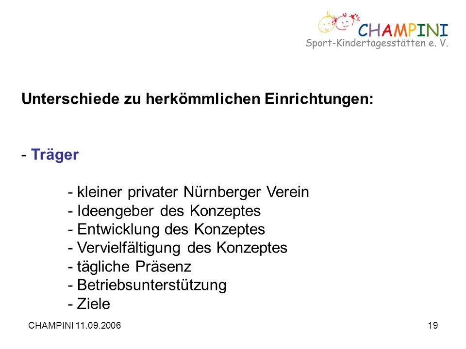 CHAMPINI 11.09.200619 Unterschiede zu herkömmlichen Einrichtungen: - Träger - kleiner privater Nürnberger Verein - Ideengeber des Konzeptes - Entwickl