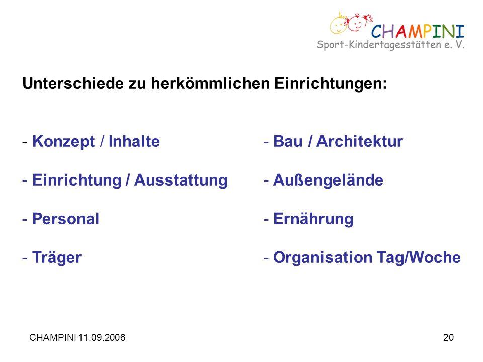 CHAMPINI 11.09.200620 Unterschiede zu herkömmlichen Einrichtungen: - Konzept / Inhalte- Bau / Architektur - Einrichtung / Ausstattung- Außengelände -