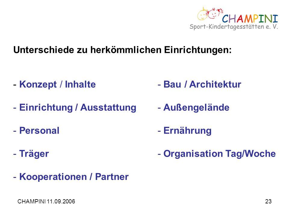 CHAMPINI 11.09.200623 Unterschiede zu herkömmlichen Einrichtungen: - Konzept / Inhalte- Bau / Architektur - Einrichtung / Ausstattung- Außengelände -