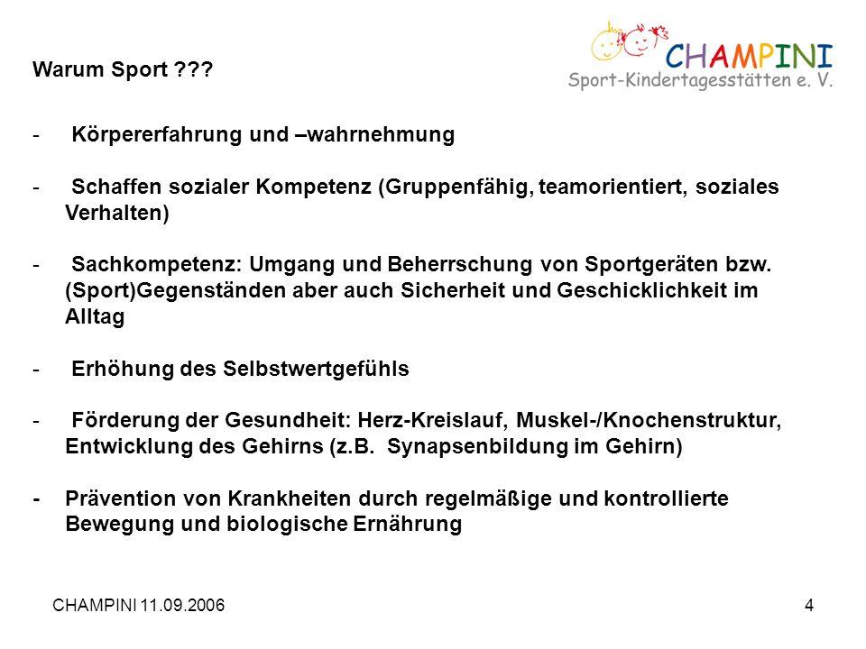 CHAMPINI 11.09.20064 Warum Sport ??? - Körpererfahrung und –wahrnehmung - Schaffen sozialer Kompetenz (Gruppenfähig, teamorientiert, soziales Verhalte
