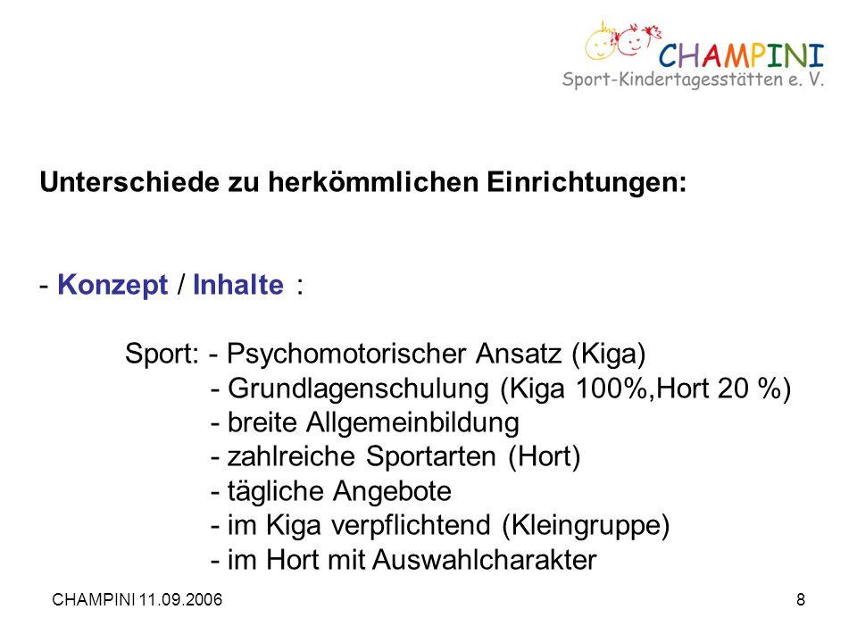 CHAMPINI 11.09.20068 Unterschiede zu herkömmlichen Einrichtungen: - Konzept / Inhalte: Sport: - Psychomotorischer Ansatz (Kiga) - Grundlagenschulung (