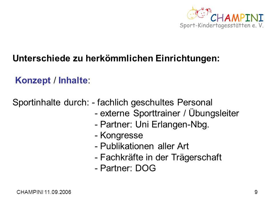CHAMPINI 11.09.20069 Unterschiede zu herkömmlichen Einrichtungen: Konzept / Inhalte: Sportinhalte durch: - fachlich geschultes Personal - externe Spor