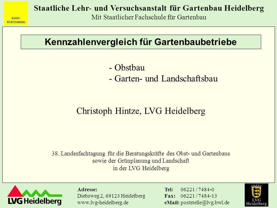 Staatliche Lehr- und Versuchsanstalt für Gartenbau Heidelberg Mit Staatlicher Fachschule für Gartenbau Tel: Fax: eMail: 06221 / 7484-0 06221 / 7484-13 poststelle@lvg.bwl.de Adresse: Diebsweg 2, 69123 Heidelberg www.lvg-heidelberg.de c) Rentabilität: Sind große Kernobstbetriebe mit indirektem Absatz rentabler.