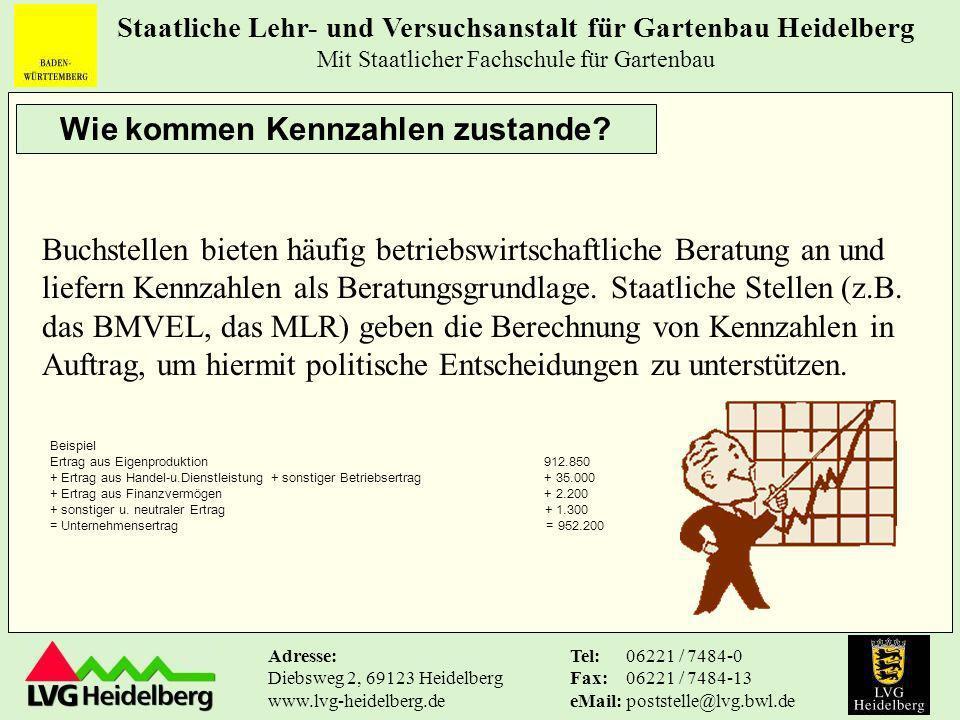 Staatliche Lehr- und Versuchsanstalt für Gartenbau Heidelberg Mit Staatlicher Fachschule für Gartenbau Tel: Fax: eMail: 06221 / 7484-0 06221 / 7484-13 poststelle@lvg.bwl.de Adresse: Diebsweg 2, 69123 Heidelberg www.lvg-heidelberg.de Was sind Kennzahlen.