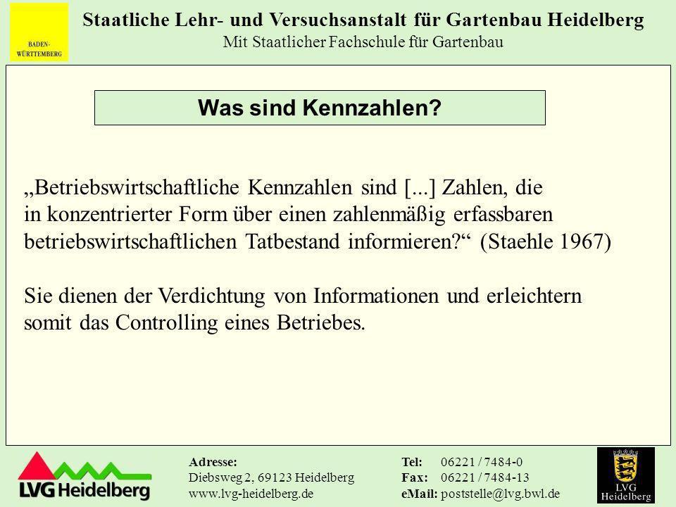 Staatliche Lehr- und Versuchsanstalt für Gartenbau Heidelberg Mit Staatlicher Fachschule für Gartenbau Tel: Fax: eMail: 06221 / 7484-0 06221 / 7484-13 poststelle@lvg.bwl.de Adresse: Diebsweg 2, 69123 Heidelberg www.lvg-heidelberg.de Für die direkt vermarktenden Obstbaubetriebe lautet die Empfehlung, sich zusätzlich mit anderen Direktvermarktern anhand von spezifischen Einzelhandelskennzahlen (z.B.