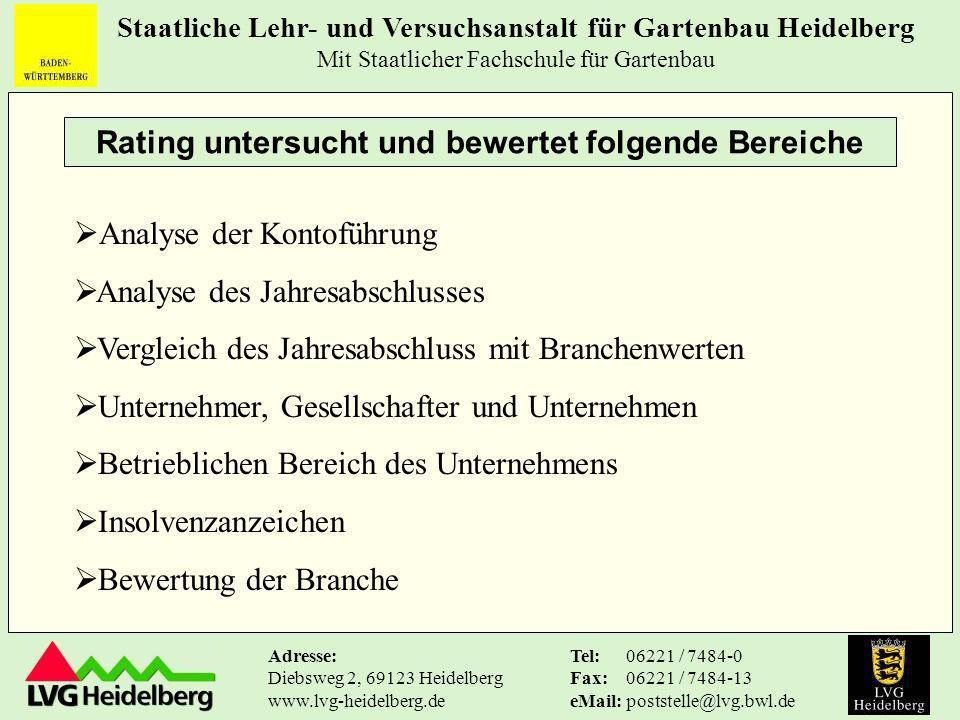 Staatliche Lehr- und Versuchsanstalt für Gartenbau Heidelberg Mit Staatlicher Fachschule für Gartenbau Tel: Fax: eMail: 06221 / 7484-0 06221 / 7484-13 poststelle@lvg.bwl.de Adresse: Diebsweg 2, 69123 Heidelberg www.lvg-heidelberg.de Welche Erkenntnisse bringen Kennzahlenvergleiche?