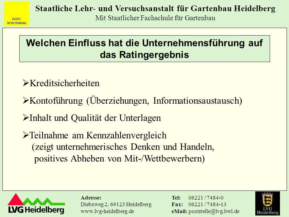 Staatliche Lehr- und Versuchsanstalt für Gartenbau Heidelberg Mit Staatlicher Fachschule für Gartenbau Tel: Fax: eMail: 06221 / 7484-0 06221 / 7484-13 poststelle@lvg.bwl.de Adresse: Diebsweg 2, 69123 Heidelberg www.lvg-heidelberg.de Fazit - Repräsentative Aussagen liefert kein Kennzahlenvergleich .