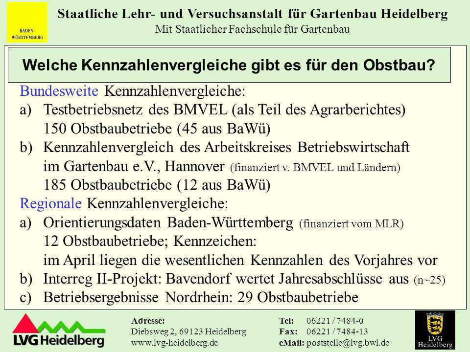 Staatliche Lehr- und Versuchsanstalt für Gartenbau Heidelberg Mit Staatlicher Fachschule für Gartenbau Tel: Fax: eMail: 06221 / 7484-0 06221 / 7484-13