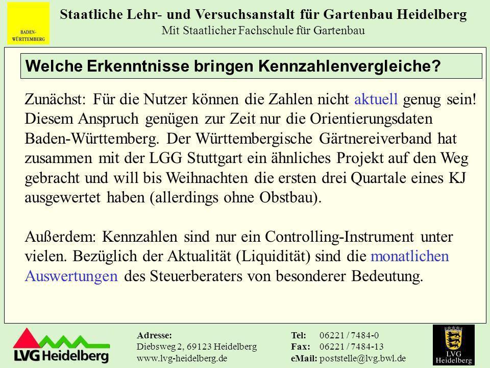 Staatliche Lehr- und Versuchsanstalt für Gartenbau Heidelberg Mit Staatlicher Fachschule für Gartenbau Tel: Fax: eMail: 06221 / 7484-0 06221 / 7484-13 poststelle@lvg.bwl.de Adresse: Diebsweg 2, 69123 Heidelberg www.lvg-heidelberg.de Welche Erkenntnisse bringen Kennzahlenvergleiche.