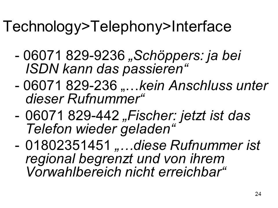 24 Technology>Telephony>Interface - 06071 829-9236 Schöppers: ja bei ISDN kann das passieren - 06071 829-236 …kein Anschluss unter dieser Rufnummer -0