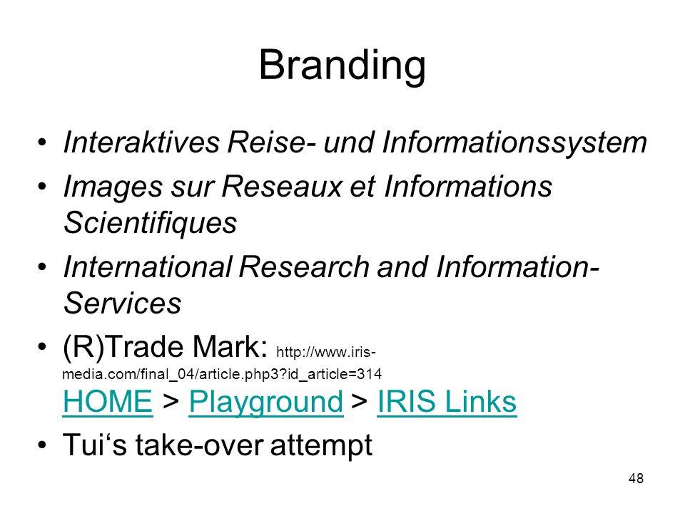 48 Branding Interaktives Reise- und Informationssystem Images sur Reseaux et Informations Scientifiques International Research and Information- Servic