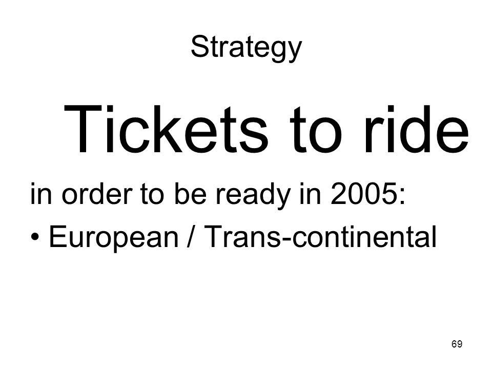 69 Strategy Tickets to ride in order to be ready in 2005: European / Trans-continental