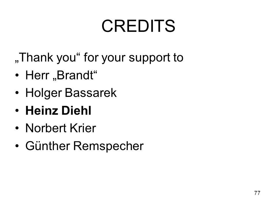 77 CREDITS Thank you for your support to Herr Brandt Holger Bassarek Heinz Diehl Norbert Krier Günther Remspecher