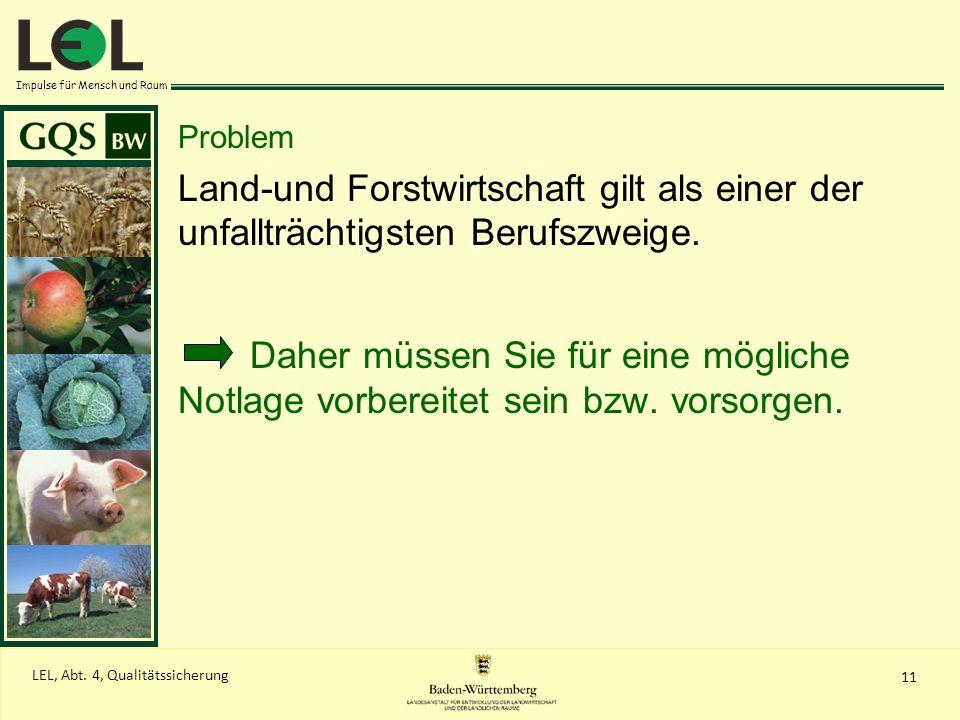 Impulse für Mensch und Raum 11 LEL, Abt. 4, Qualitätssicherung Problem Land-und Forstwirtschaft gilt als einer der unfallträchtigsten Berufszweige. Da