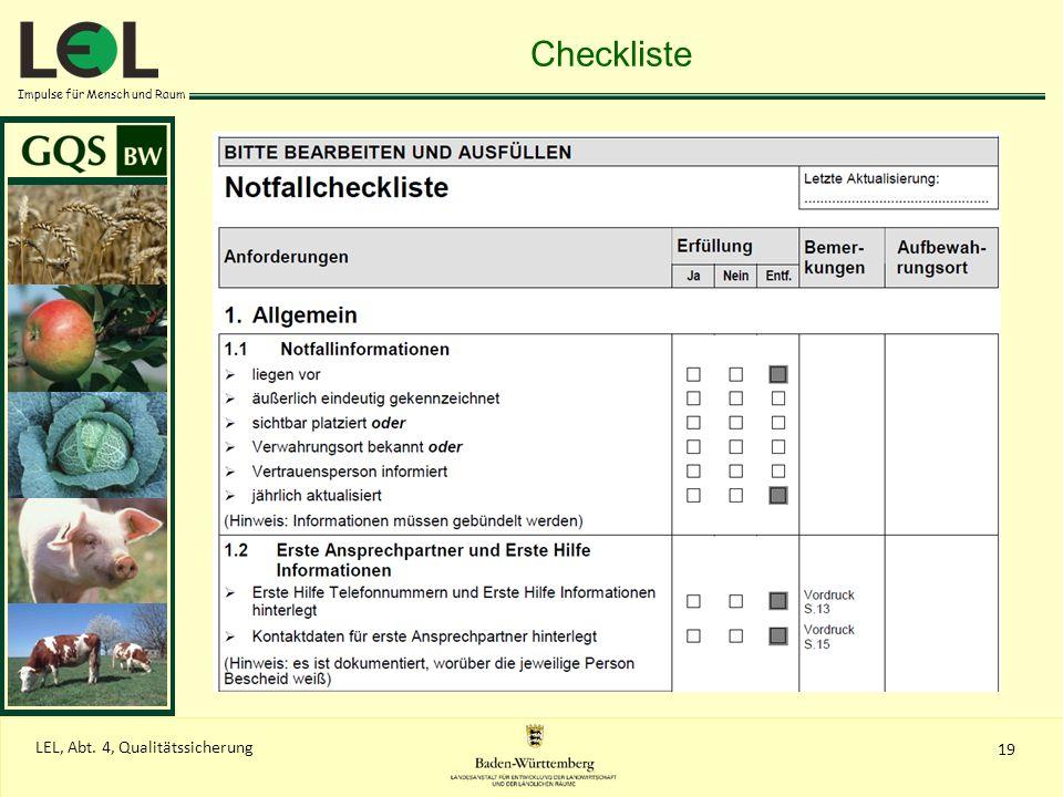 Impulse für Mensch und Raum 19 LEL, Abt. 4, Qualitätssicherung Checkliste