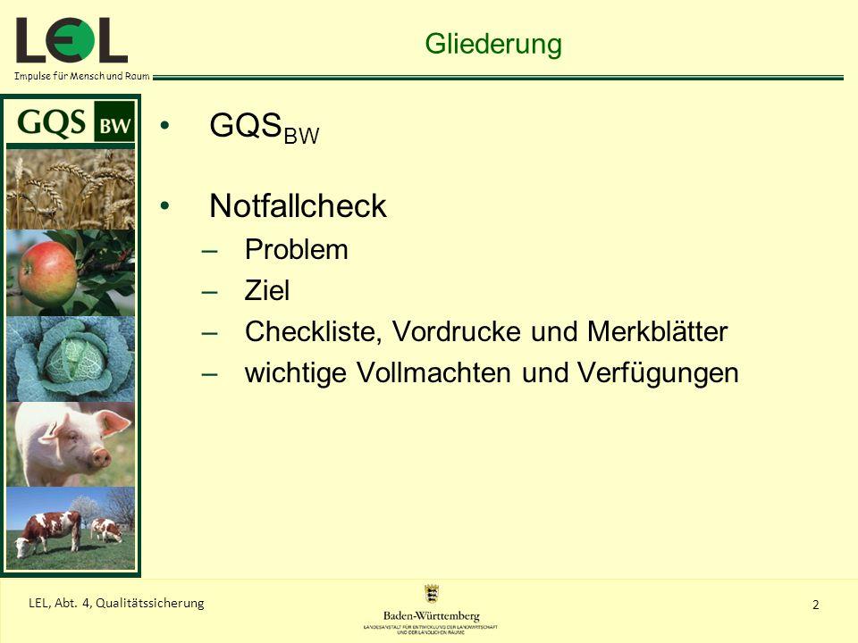 Impulse für Mensch und Raum 2 LEL, Abt. 4, Qualitätssicherung Gliederung GQS BW Notfallcheck –Problem –Ziel –Checkliste, Vordrucke und Merkblätter –wi