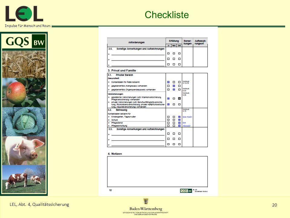 Impulse für Mensch und Raum 20 LEL, Abt. 4, Qualitätssicherung Checkliste