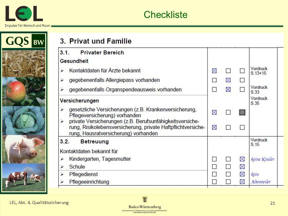 Impulse für Mensch und Raum 21 LEL, Abt. 4, Qualitätssicherung Checkliste
