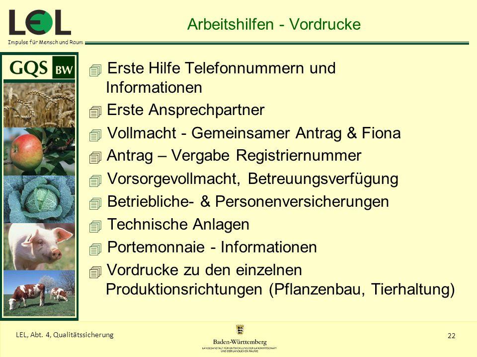 Impulse für Mensch und Raum 22 LEL, Abt. 4, Qualitätssicherung Arbeitshilfen - Vordrucke Erste Hilfe Telefonnummern und Informationen Erste Ansprechpa