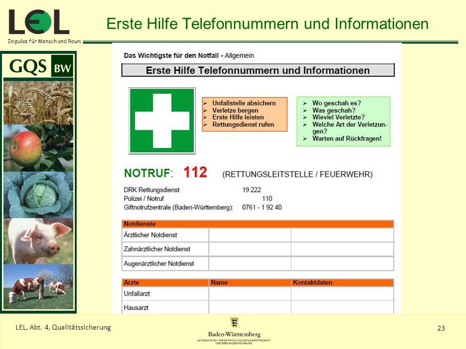 Impulse für Mensch und Raum 23 LEL, Abt. 4, Qualitätssicherung Erste Hilfe Telefonnummern und Informationen