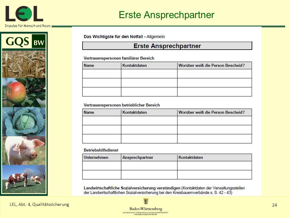 Impulse für Mensch und Raum 24 LEL, Abt. 4, Qualitätssicherung Erste Ansprechpartner