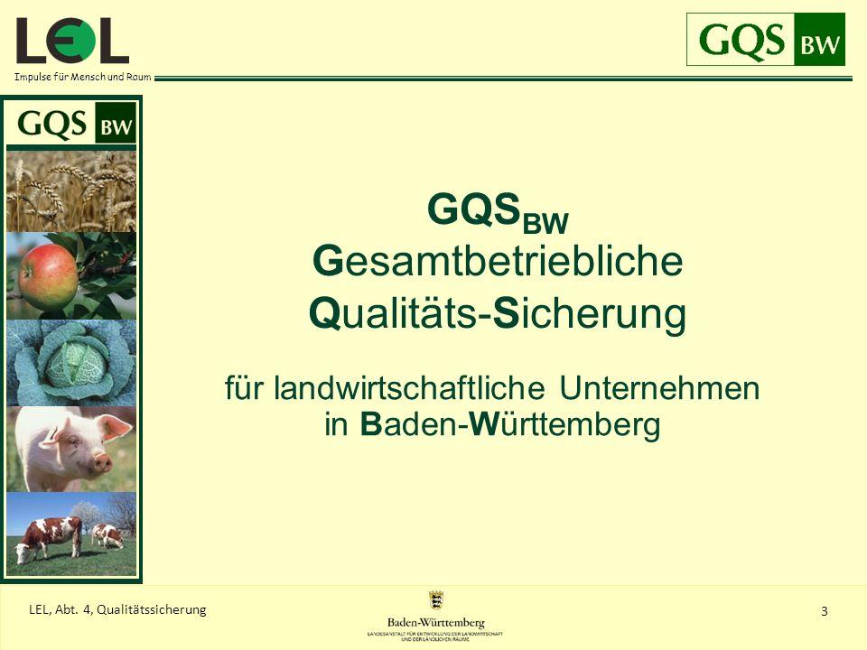 Impulse für Mensch und Raum 3 LEL, Abt. 4, Qualitätssicherung GQS BW Gesamtbetriebliche Qualitäts-Sicherung für landwirtschaftliche Unternehmen in Bad