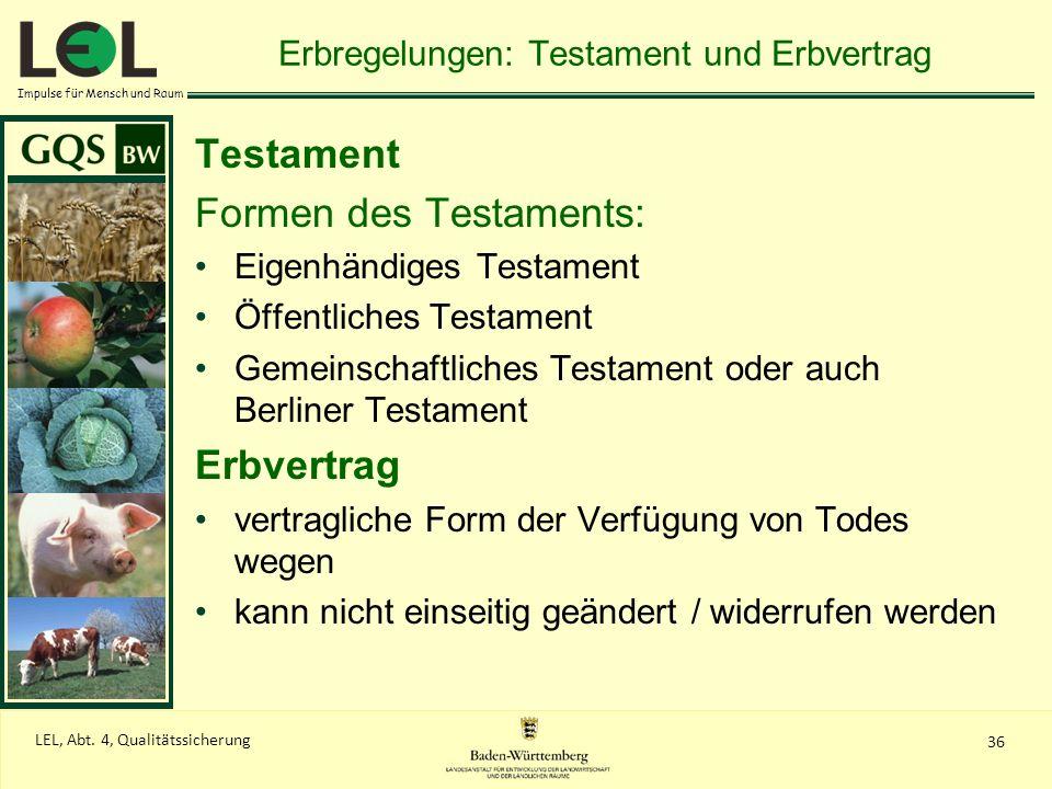 Impulse für Mensch und Raum 36 LEL, Abt. 4, Qualitätssicherung Erbregelungen: Testament und Erbvertrag Testament Formen des Testaments: Eigenhändiges