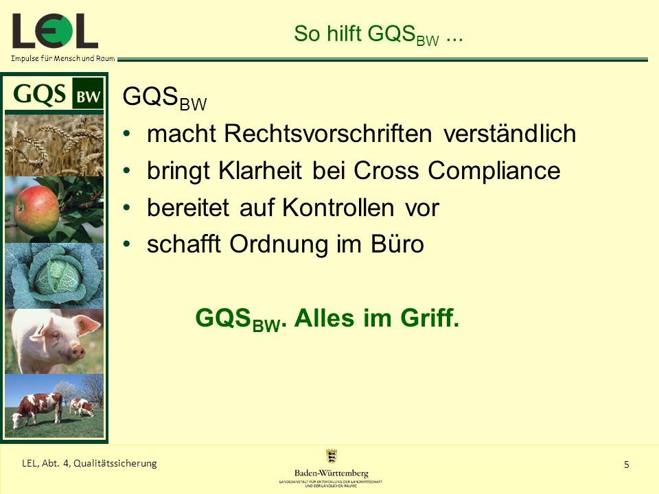 Impulse für Mensch und Raum 5 LEL, Abt. 4, Qualitätssicherung So hilft GQS BW... GQS BW macht Rechtsvorschriften verständlich bringt Klarheit bei Cros