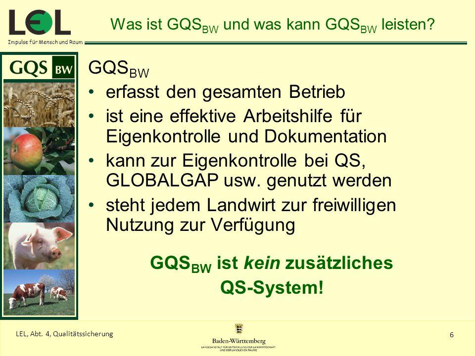 Impulse für Mensch und Raum 6 LEL, Abt. 4, Qualitätssicherung Was ist GQS BW und was kann GQS BW leisten? GQS BW erfasst den gesamten Betrieb ist eine